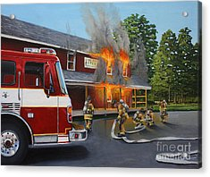 Feed Store Fire Acrylic Print by Paul Walsh