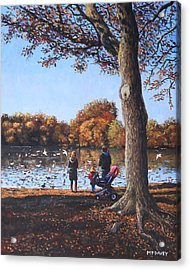 Feeding The Ducks At Southampton Common Acrylic Print
