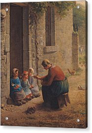 Feeding The Young Acrylic Print by Jean-Francois Millet