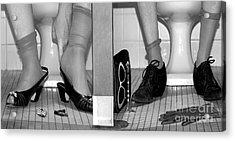 Feet In Toilet Stalls Acrylic Print by Novastock
