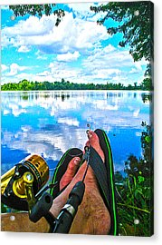 Feet Up Fishing Crab Orchard Lake Acrylic Print