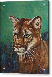 Acrylic Print featuring the painting Feline Alert by Margaret Saheed