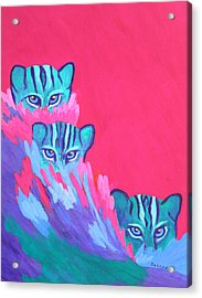 Acrylic Print featuring the painting Feline Fishers by Margaret Saheed