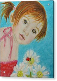 Felisa Little Angel Of Happiness And Luck Acrylic Print by The Art With A Heart By Charlotte Phillips