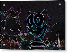 Felix And The Cow In Neon Acrylic Print