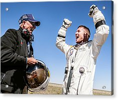 Felix Baumgartner After Freefall Acrylic Print by Science Photo Library