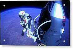 Felix Baumgartner Jumping From Capsule Acrylic Print by Science Photo Library