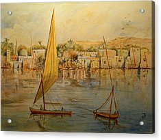 Feluccas At Aswan Egypt. Acrylic Print by Juan  Bosco