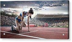 Female Athlete Prepares To Run Acrylic Print by Dmytro Aksonov