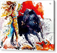 Female Bullfighter Acrylic Print by Steven Ponsford