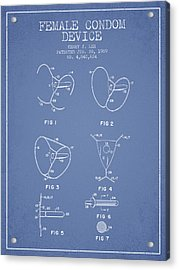 Female Condom Device Patent From 1989 - Light Blue Acrylic Print by Aged Pixel
