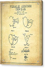Female Condom Device Patent From 1989 - Vintage Acrylic Print by Aged Pixel