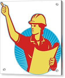 Female Engineer Construction Worker Pointing Retro Acrylic Print by Aloysius Patrimonio