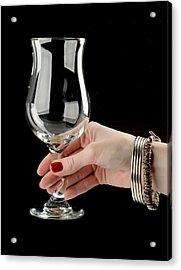 Female Hand Holding Wine Glass Acrylic Print by Nikita Buida