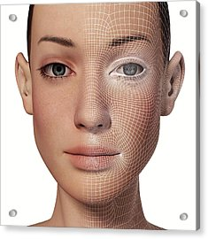 Female Head With Biometric Facial Map Acrylic Print by Alfred Pasieka