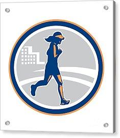 Female Marathon Runner City Retro Acrylic Print