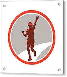 Female Marathon Runner Running Circle Retro Acrylic Print
