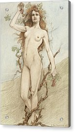 Female Nude With Grapes Acrylic Print