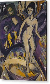 Female Nude With Hot Tub Acrylic Print by Ernst Ludwig Kirchner