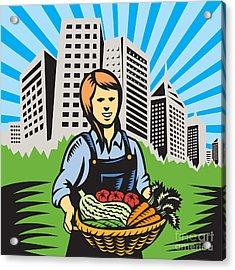 Female Organic Farmer Urban Acrylic Print by Aloysius Patrimonio