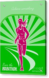 Female Run Marathon Retro Poster Acrylic Print