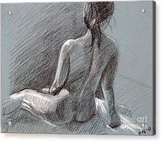 Female Seated Back Acrylic Print