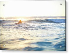 Female Surfer Swimming Out To Waves On Acrylic Print by Moof