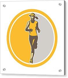 Female Triathlete Marathon Runner Circle Retro Acrylic Print