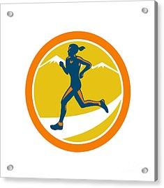 Female Triathlete Runner Running Retro Acrylic Print by Aloysius Patrimonio