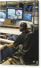 Female Worker Monitoring Computer Screens At Lumber Industry Acrylic Print by Hakan Jansson