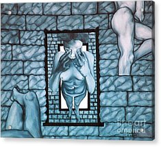 Acrylic Print featuring the painting Female's Gray World by Fei A