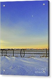 Fence And Moon Acrylic Print