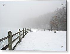 Fence In Fog Acrylic Print
