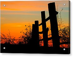 Fence Line With Vibrant Sky Acrylic Print by Kirk Strickland