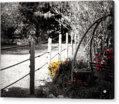 Fence Near The Garden Acrylic Print
