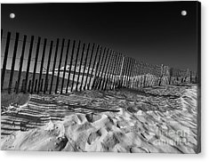 Fence On Beach Acrylic Print