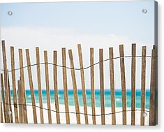 Fence On The Beach Acrylic Print by Shelby  Young