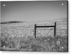 Fence Post Near Choteau Montana Bw Acrylic Print by Rich Franco