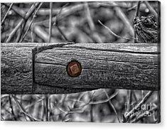 Fence Rail With Rusty Bolt Acrylic Print by Thomas Woolworth