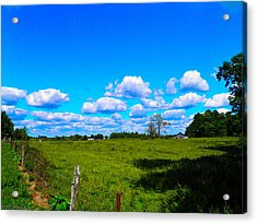 Fence Row And Clouds Acrylic Print by Nick Kirby