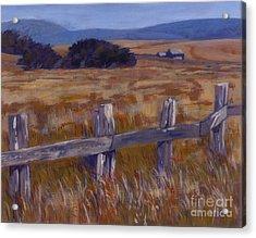 Fenced Field - Point Arenas Ca Acrylic Print by Betsee  Talavera