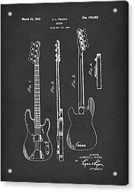 Fender Bass Guitar 1953 Patent Art Black Acrylic Print by Prior Art Design