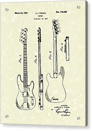 Fender Bass Guitar 1953 Patent Art  Acrylic Print by Prior Art Design