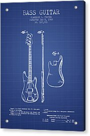 Fender Bass Guitar Patent From 1960 - Blueprint Acrylic Print by Aged Pixel