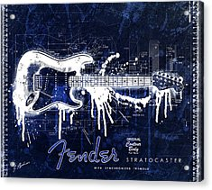 Fender Blueprint Washout Acrylic Print by Gary Bodnar