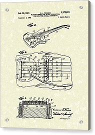 Fender Floating Tremolo 1961 Patent Art Acrylic Print by Prior Art Design