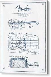 Fender Floating Tremolo Patent Drawing From 1961 - Blue Ink Acrylic Print