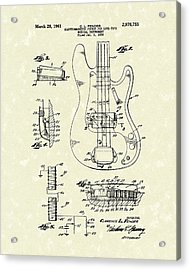 Fender Guitar 1961 Patent Art Acrylic Print by Prior Art Design