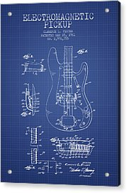 Fender Guitar Patent From 1961 - Blueprint Acrylic Print by Aged Pixel