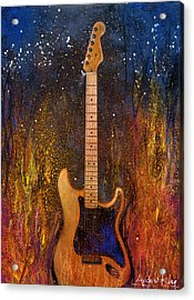 Fender On Fire Acrylic Print